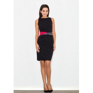 Černé elegantní dámské šaty s barevným páskem