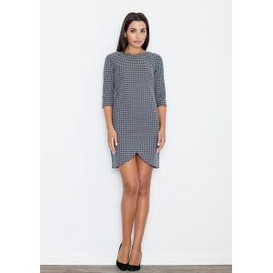 Šedé dámské šaty s geometrickým vzorem