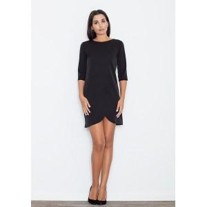 Krátké dámské černé šaty s tříčtvrtečním rukávem