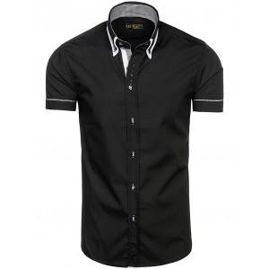 Pánská černá košile s krátkým rukávem