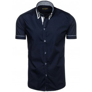 Košile tmavě modré barvy s krátkým rukávem pánské