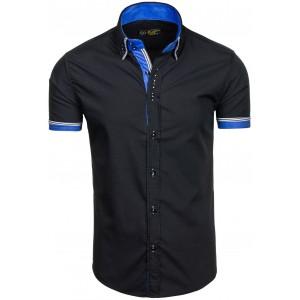 Pánská slim fit košile černá s krátkým rukávem