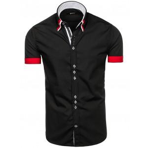 Elegantní pánská košile s krátkým rukávem černé barvy