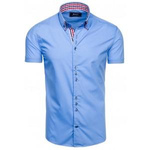 Pánská modrá košile s krátkým rukávem na každou příležitost
