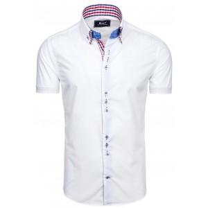 Společenské pánské košile bílé barvy s károvaným detailem na límci