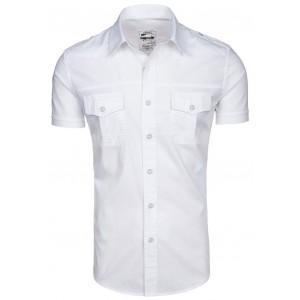 Bílá pánská košile s krátkým rukávem a kapsami na každou postavu