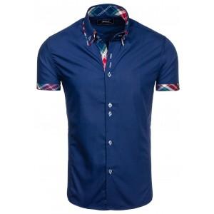 Tmavomodrá košile na knoflíky s károvaným lemováním