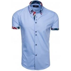 Elegantní košile s krátkým rukávem v světlemodré barvě