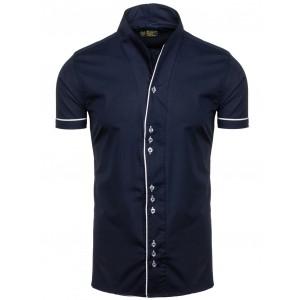 Tmavě modrá moderní pánská košile s krátkým rukávem