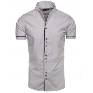Exkluzivní pánská košile šedé barvy s krátkým rukávem