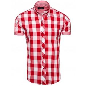 Kostkovaná košile krátký rukáv červené barvy na každou příležitost