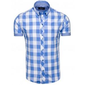 Košile s krátkým rukávem s kostkami modrá