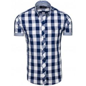 Košile tmavě modré barvy s krátkým rukávem s kostkami