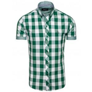 Sportovní košile na léto zelené barvy s kostkami
