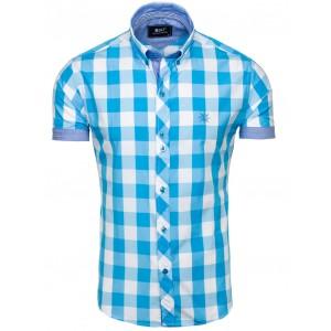 Pánské košile s krátkým rukávem modré barvy na volný čas