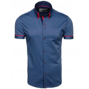 Žíhaná košile s krátkým rukávem v modré barvě
