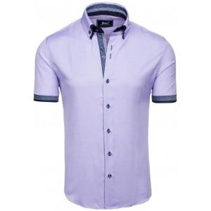 Košile pro pány ve fialové barvě s krátkým rukávem