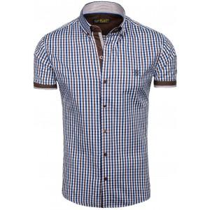 Moderní pánská košile s krátkým rukávem v hnědo modré barvě