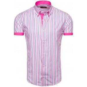 Pánská růžová košile s krátkým rukávem žíhaná