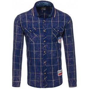 Károvaná pánská košile tmavě modré barvy