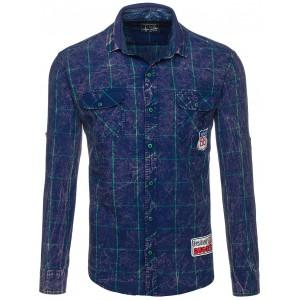 Tmavě modrá pánská košile s kapsami na hrudi