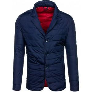 Pánská prošívaná bunda na jaro se zapínáním na knoflíky modré barvy
