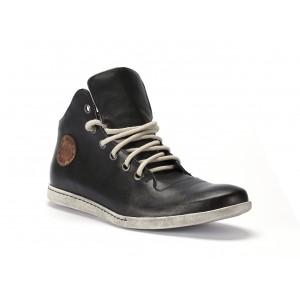 Pánské kožené boty černé barvy na běžné nošení COMODO E SANO