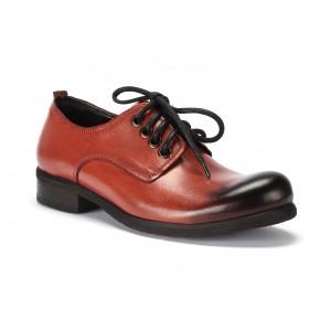 Kožené boty hnědo oranžové barvy na šněrování pro pány COMODO E SANO