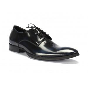 Pánské kožené elegantní boty COMODO E SANO černo modré barvy