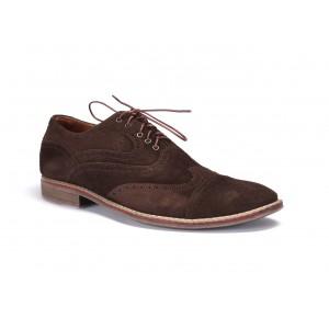 Hnědé prošívané kožené boty na šněrování COMODO E SANO