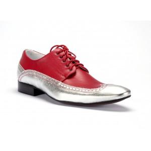Červené pánské kožené boty se stříbrným lemováním COMODO E SANO