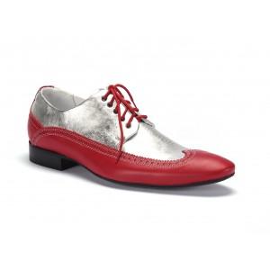 Červeno stříbrné pánské extravagantní kožené boty COMODO E SANO
