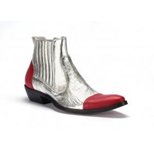 COMODO E SANO stříbrné pánské kožené kovbojky s červenou špičkou a patou