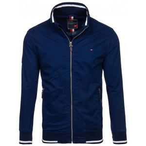 Jarní pánská bunda tmavě modré barvy bez kapuce