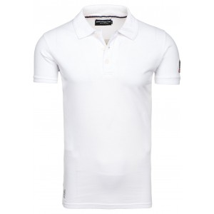 Bavlněné bílé pánské polo trička s americkou vlajkou