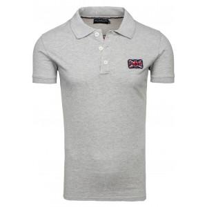 Bavlněné šedé polo tričko s krátkým rukávem