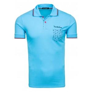 Modré pánské polo trička s kapsou na levé straně