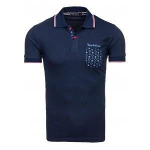 Tmavě modré pánské polo trička se vzorovanou kapsou