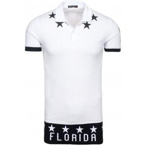 Bílé bavlněné pánské polo trička s potiskem