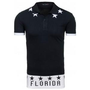 Černé pánské polo trička s nápisem FLORIDA