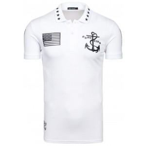 Bavlněné bílé pánské polo trička s potiskem