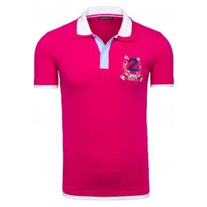 Růžové pánské polo trička s lemováním