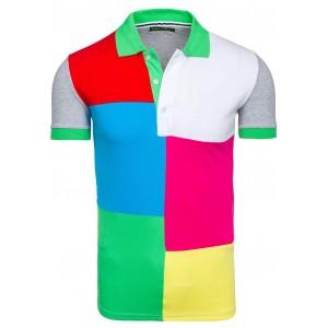 Šedé pánské polo trička s barevnými čtverci