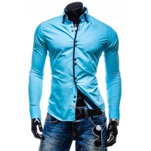 Tyrkysové pánské košile s dlouhým rukávem