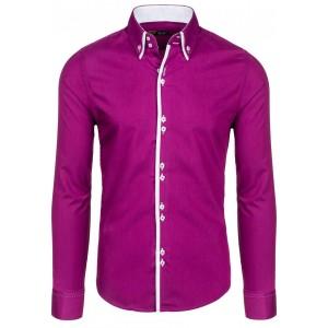 Fialové elegantní pánské košile s dlouhým rukávem