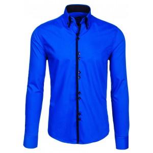 Modrá pánská slim košile s lemováním