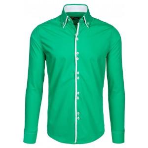Stylové zelené pánské košile s dlouhým rukávem