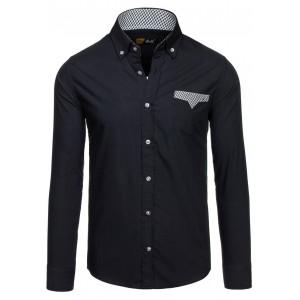 Černé pánské košile s kostkovaným detailem na kapse