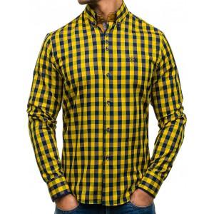 Žluté pánské kostkované košile s dlouhým rukávem
