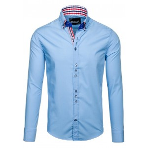 Světle modrá společenská pánská košile s knoflíkem na límci